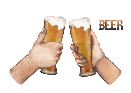 Two watercolor hands holding high glasses of beer. Hand painted illustration isolated on white background