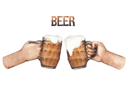 irish countryside: Two watercolor hands holding pints of beer. Hand painted illustration isolated on white background Stock Photo