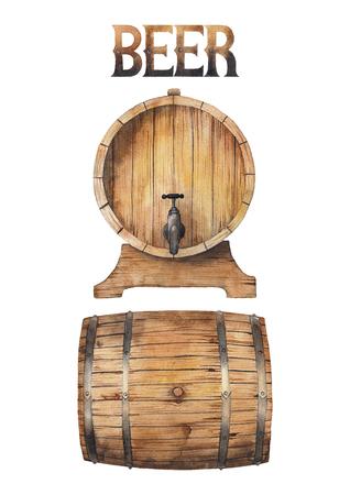 Watercolor barrels of beer Foto de archivo