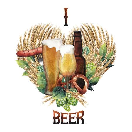 Watercolor beer heart Stock Photo