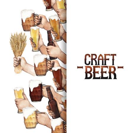 Watercolor hands with beer