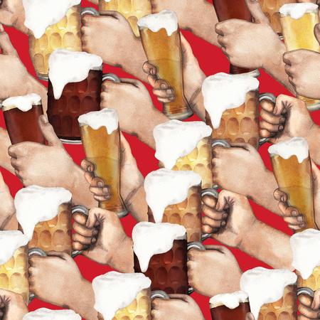 wap: Watercolor hands with beer