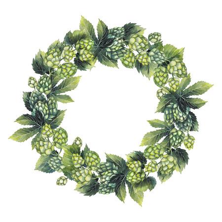 Watercolor hop wreath Stock Photo