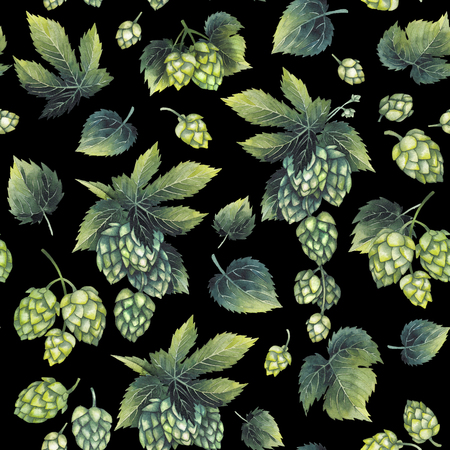 Watercolor hops pattern Stock Photo