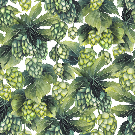 Watercolor hops pattern 版權商用圖片