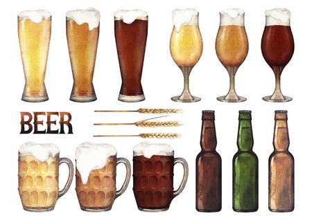 Copas de la acuarela de la cerveza Foto de archivo - 83436826