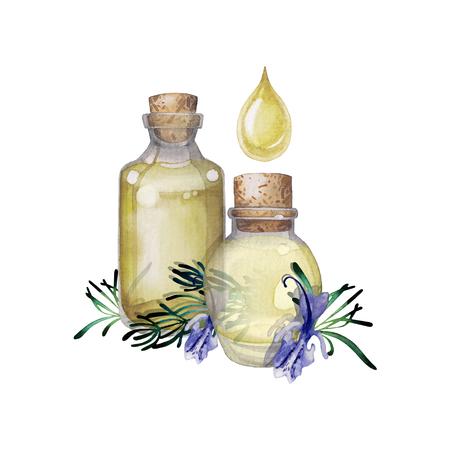 Watercolor rosemary oil Stock Photo