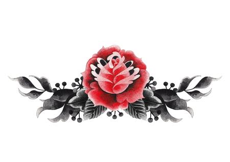Watercolor floral vignette