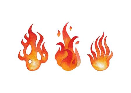 Watercolor fire flames