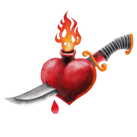 Watercolor flaming hearts and knife. Stock Photo