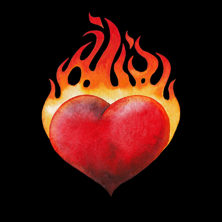 Watercolor flaming heart Stock Photo