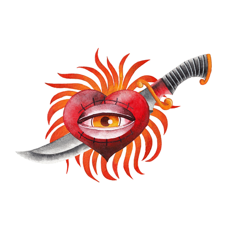 Watercolor flaming heart with eye and knife Stock Photo