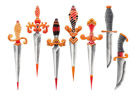 Watercolor ornate knifes