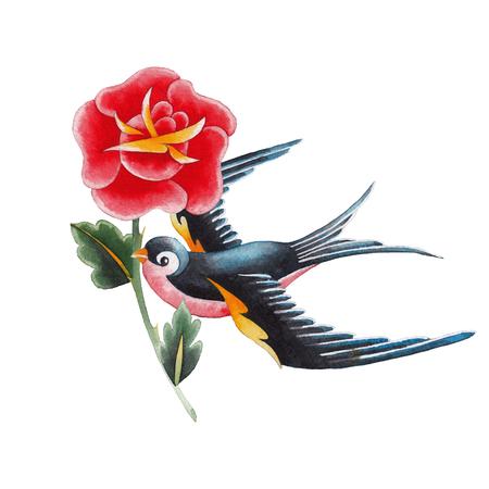 Watercolor swallows carrying flower Фото со стока
