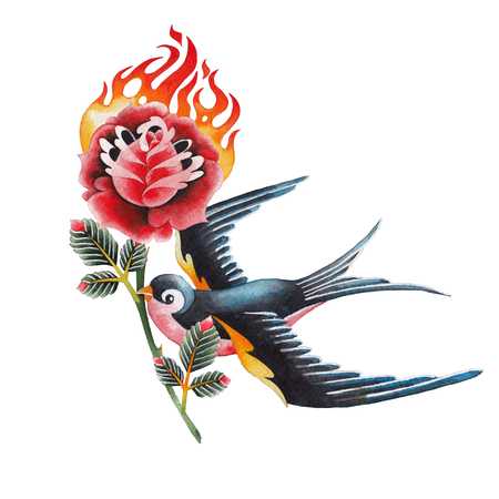 Watercolor swallows carrying flaming flower