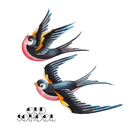Two watercolor flying swallows Banque d'images
