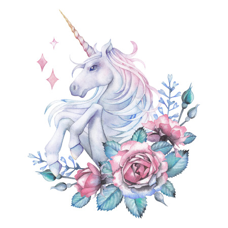 Watercolor design with unicorn and rose vignette 写真素材