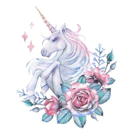 Watercolor design with unicorn and rose vignette Foto de archivo