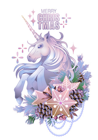 Cute design with pastel colored unicorn with coniferous decorations and gingerbreads. Vector elegant design isolated on white background