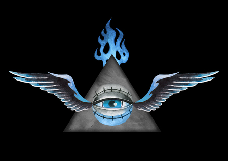 Watercolor winged all-seeing eye with falming triangle