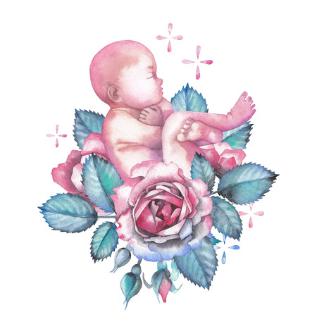 Watercolor child surrounded by roses and sparkles