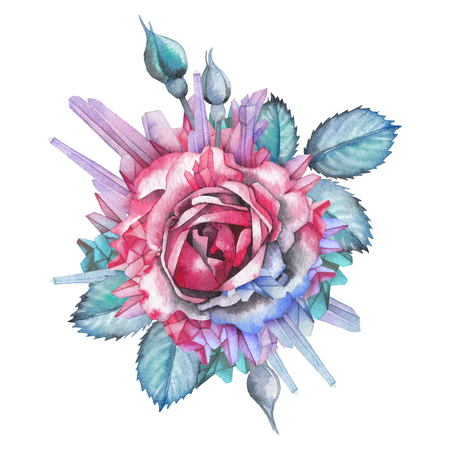 Watercolor rose vignette decorated with crystals