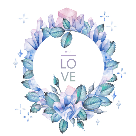Watercolor design with crystals and leaves