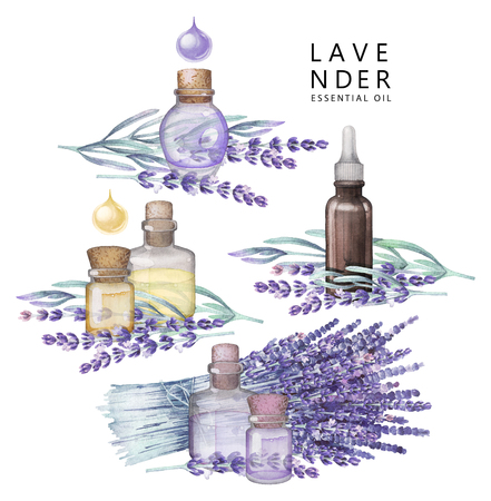 Watercolor lavender oil set