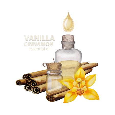 Watercolor vanilla oil Stock Photo