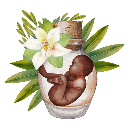 Watercolor fetus in the glass bottle