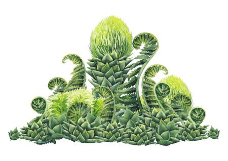 Watercolor prehistoric plants Stock fotó