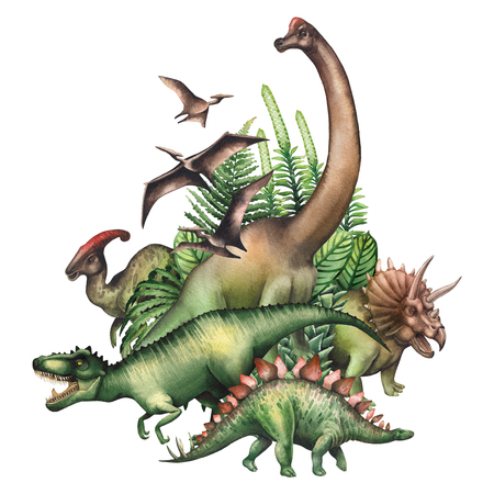Group of watercolor dinosaurs