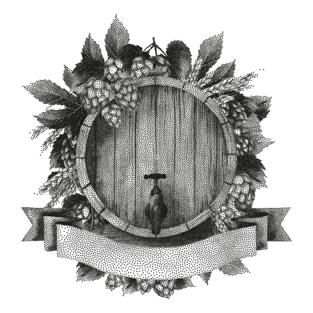 Graphic barrel of beer over the ribbon decorated with hops and malt. Vector oktoberfest design drawn in stippling technique