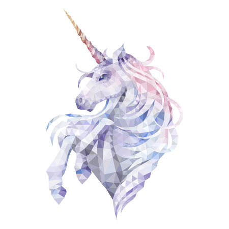 Cute graphic low poly unicorn in pastel colors vector illustration