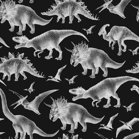 Graphic collection of dinosaurs drawn in stippling technique. Vector seamless pattern