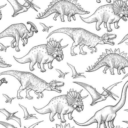 Graphic collection of dinosaurs. Vector seamless pattern drawn in engraving technique. Coloring book page design.