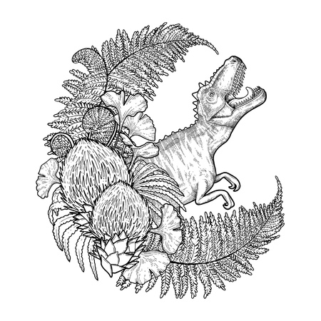 Graphic crescent shaped wreath of prehistoric plants with a snarling T-Rex. Roaring dinosaur. Vector art drawn in engraving technique. Coloring book page design.