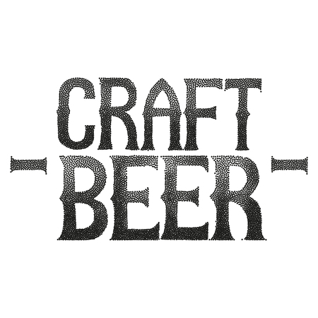Craft beer. Graphic phrase in vintage style isolated on white background. Illustration