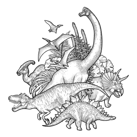 Group of realistic graphic dinosaurs surrounded by lush prehistoric plants. Vector animals of Jurassic period drawn in engraving technique. Coloring book page design.