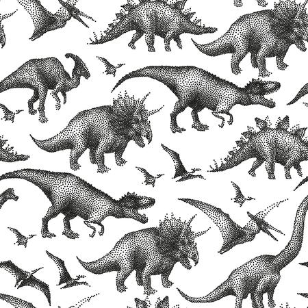 Graphic collection of dinosaurs drawn in stippling technique. Vector seamless pattern Vektoros illusztráció
