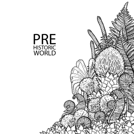 Graphic design of prehistoric plants drawn in engraving technique. Coloring book page design. Vector exotic art Ilustracja