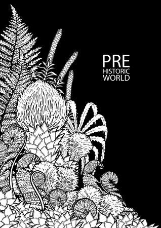 Grafische prähistorische Pflanzen in Gravurtechnik gezeichnet. Malbuch Seite Design. Vektor exotische Kunst Vektorgrafik