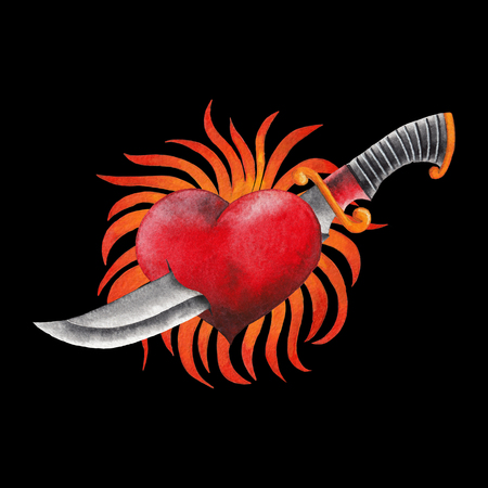 Watercolor flaming heart with knife Stock Photo