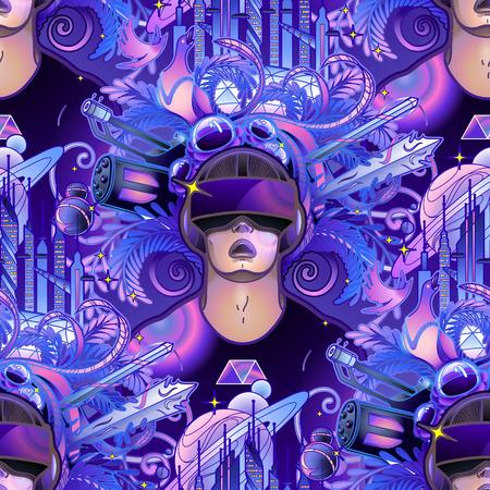 Tragender Kopfhörer der virtuellen Realität des grafischen Mannes