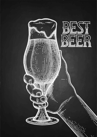 Graphic hand holding pint of beer. Vintage vector illustration isolated on the blackboard background drawn in engraving technique