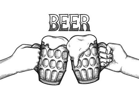 Two graphic hands holding pints of beer. Vintage vector illustration isolated on white background drawn in engraving technique. Coloring book page Ilustrace