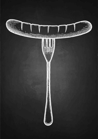 Graphic fork with sausage isolated on  plain dark background.