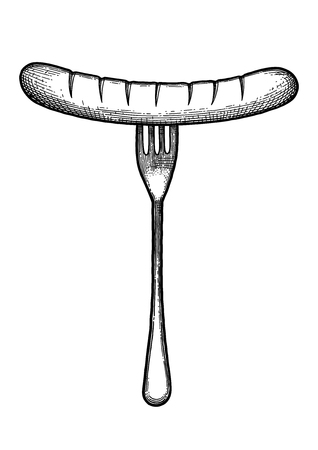 Graphic fork with sausage isolated on  plain background.