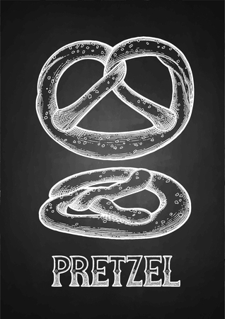 Set of two graphic pretzels isolated on the blackboard background. Traditional oktoberfest baking drawn in engraving technique Illustration