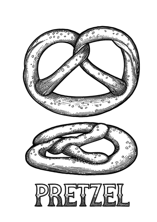 Set of two graphic pretzels isolated on white background Traditional oktoberfest baking design drawn in engraving technique. Coloring book page